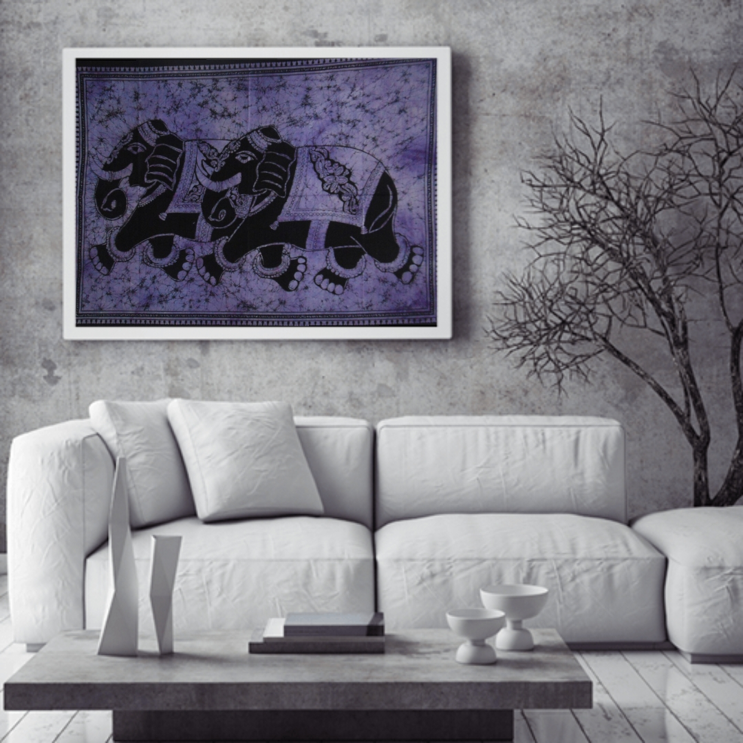 Heyrumbh Handicrafts Double Elephant Wall Hanging Tie Dye Cotton Poster(Purple, 40 X 30 Inches)