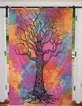Heyrumbh Handicrafts Dry Tree Wall hanging Cotton Tapestry Curtain(Multi Color, 54 X 82 Inches)