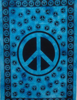 Heyrumbh Handicrafts Y Peace Sign Tapestry Wall Hanging Cotton Poster(Turquoise, 40 X 30 Inches)