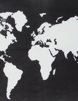 Heyrumbh Handicrafts World Map Tapestry Wall Hanging Cotton Poster(Black and White, 40 X 30 Inches)