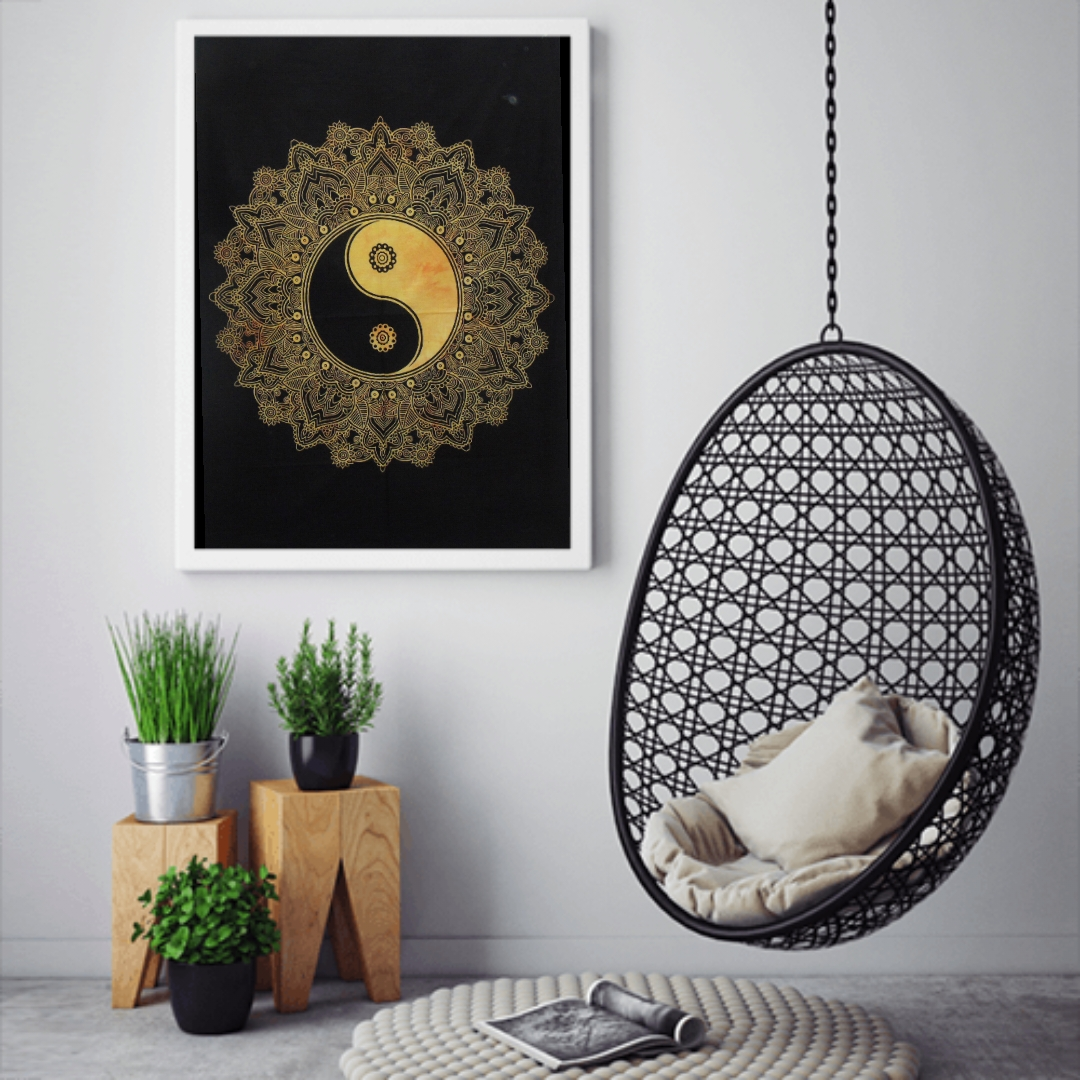 Heyrumbh Handicrafts Yin Yang Tapestry Wall Hanging Cotton Poster (Yellow, 40 X 30 Inches