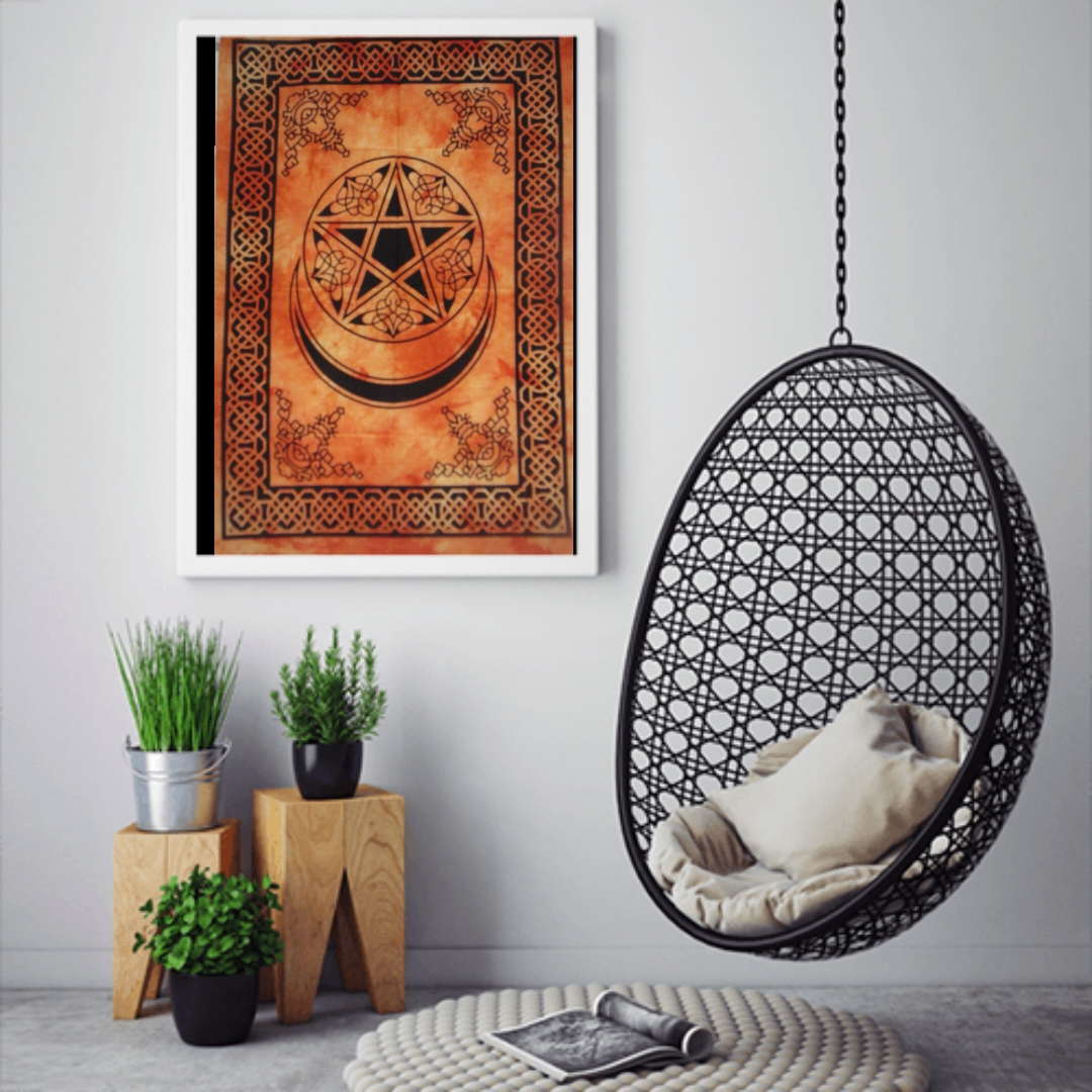 Heyrumbh Handicrafts Pentacle Moon and Star Wall Hanging Tie Dye Cotton Poster(Orange, 40 X 30 Inches)