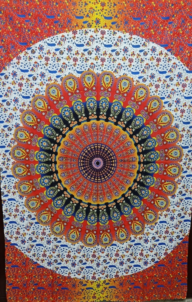 Heyrumbh Handicrafts Peacock Wing Mandala Wall Hanging Cotton Tapestry(Multi Color, 54 X 84 Inches)