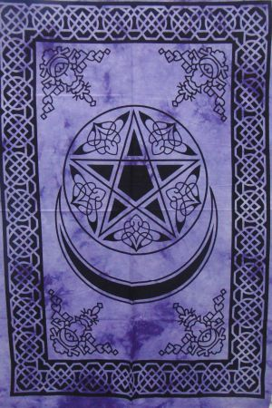 Heyrumbh Handicrafts Pentacle Start and Moon Wall Hanging Tapestry (Purple, 54 X 84 Inches