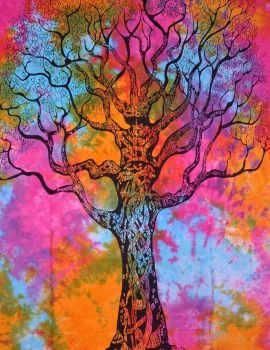 Heyrumbh Handicrafts Dry Tree Hippie Boho Wall Hanging CottonTapestry (Multi Color, 54 X 84 Inches