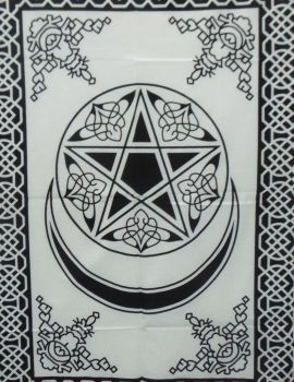 Heyrumbh Handicrafts Pentacle Start and Moon Wall Hanging Tapestry(Black and White, 54 X 84 Inches)