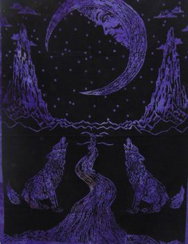 Heyrumbh Handicrafts The Wolf Moon Wall Hanging Tapestry(Purple, 54 X 84 Inches)