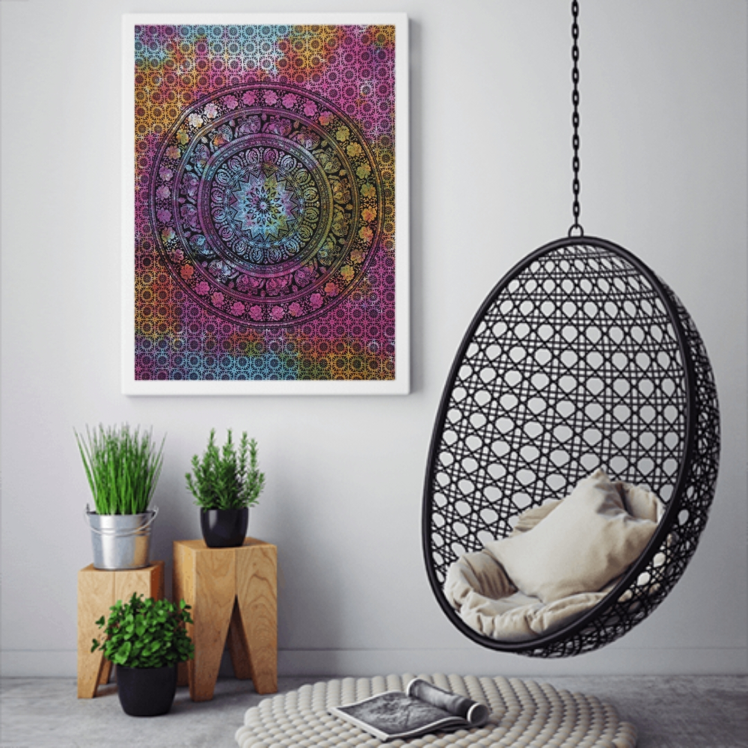 Heyrumbh Handicrafts Flower Center Elephant Wall Hanging Tie Dye Cotton Poster (Multi Color, 40 X 30 Inches