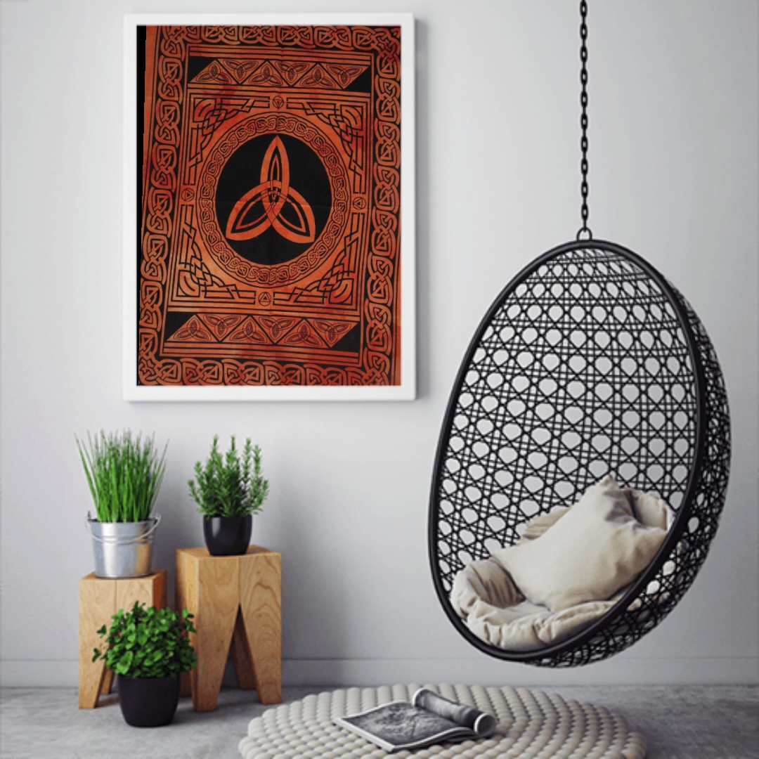 Heyrumbh Handicrafts Peace Circle Tapestry Wall Hanging Cotton Poster(Orange, 40 X 30 Inches)