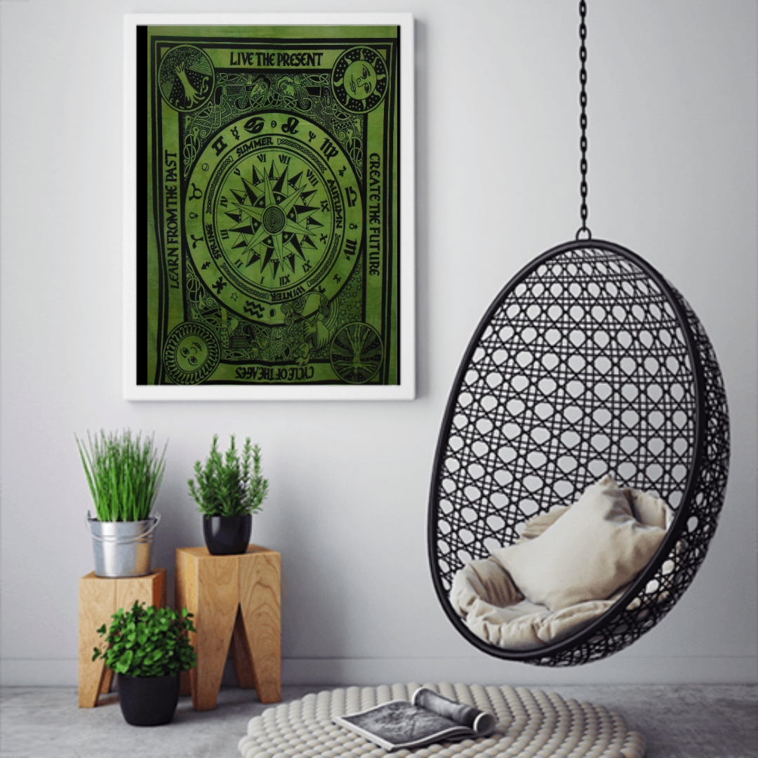Heyrumbh Handicrafts Cycle of Ages (Wheels of Fortune) Wall Hanging Tie Dye Cotton Poster(Green, 40 X 30 Inches)