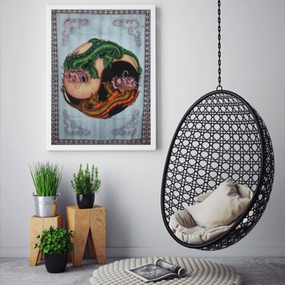 Heyrumbh Handicrafts Yin Yang Dragon Tapestry Wall Hanging Cotton Poster(Brush Paint Multi Color, 40 X 30 Inches)