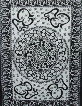 Heyrumbh Handicrafts OM Chackra Mandala Tapestry Wall Hanging Cotton Poster(Black and White, 40 X 30 Inches)