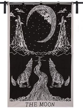 White Color The Moon Wolf Design Small Wall Art Cotton Tapestry Poster Beautiful