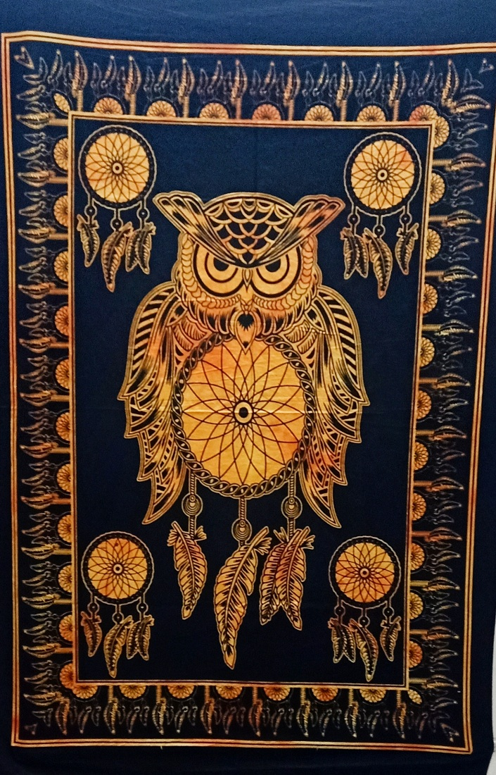 Heyrumbh Handicrafts Owl Dream Catcher Tie Dye Cotton Wall Hanging Poster(Black and Yellow, 40 X 30 Inches)