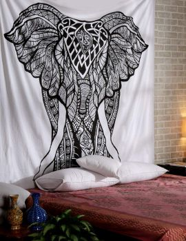 Heyrumbh Handicrafts Good Luck Front Face Elephant Cotton Wall Hanging Tapestry(Black and White, 54 X 84 Inches)