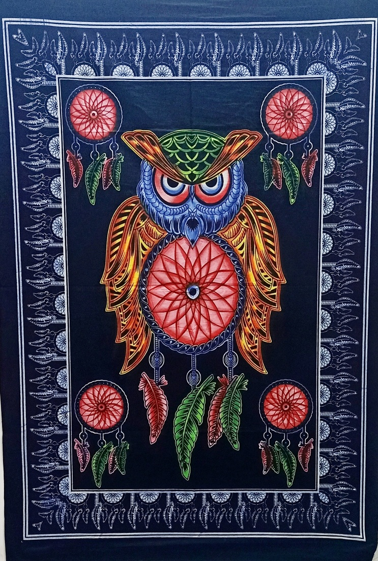 Heyrumbh Handicrafts Owl Dream Catcher Tie Dye Cotton Wall Hanging Poster(Brush Paint Multi Color, 40 X 30 Inches)