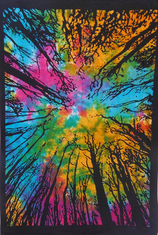 Heyrumbh Handicrafts Dark Forest Locust Tree Wall Hanging Tie Dye Cotton Tapestry (Multi Color, 54 X 84 Inches