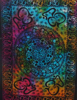 Heyrumbh Handicrafts OM Chackra Mandala Tapestry Wall Hanging Cotton Poster (Multi Color, 40 X 30 Inches