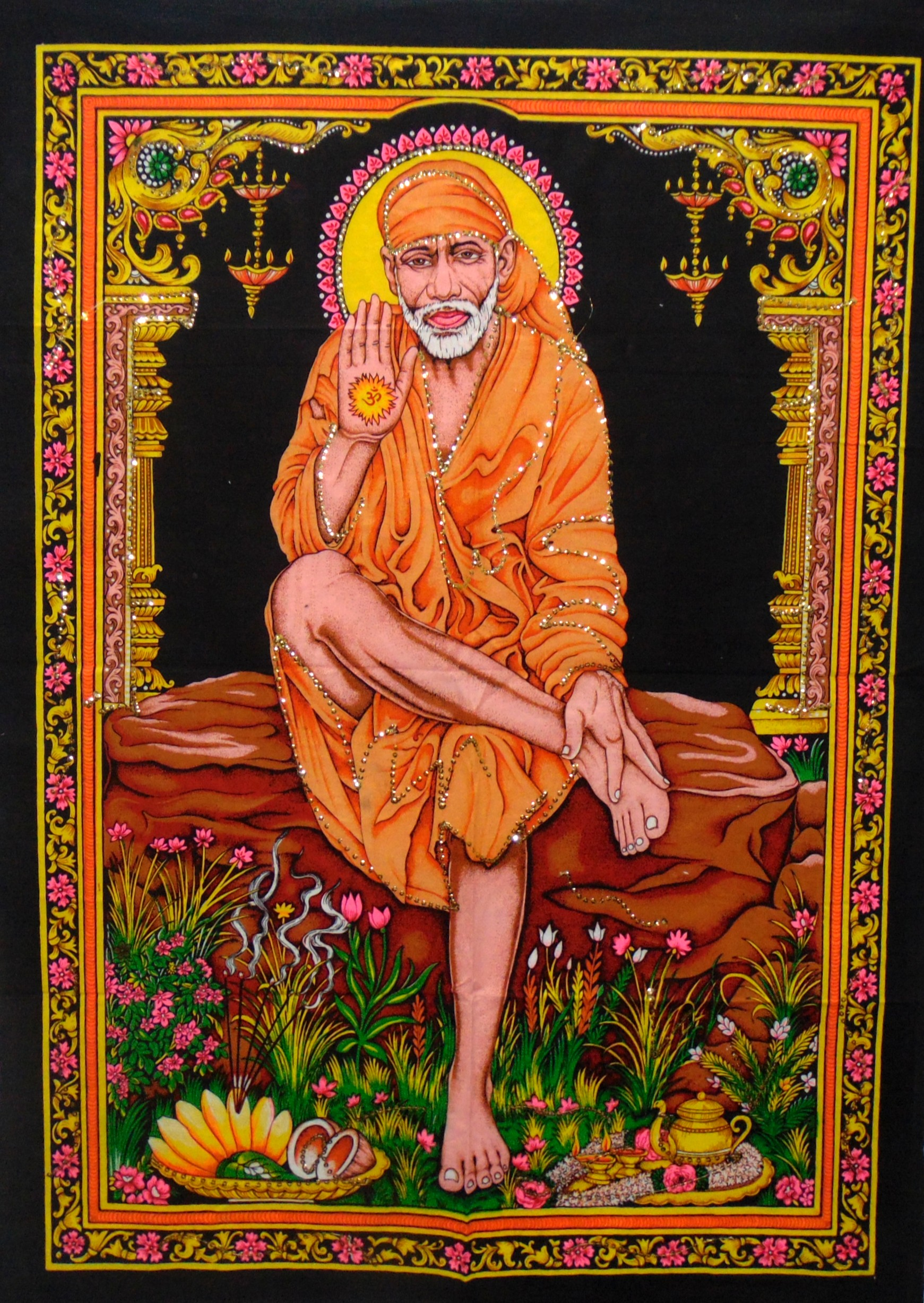 Heyrumbh Handicrafts Sai Baba Wall Hanging Tapestry Poster(Brush Paint Multi Color, 40 X 30 Inches)
