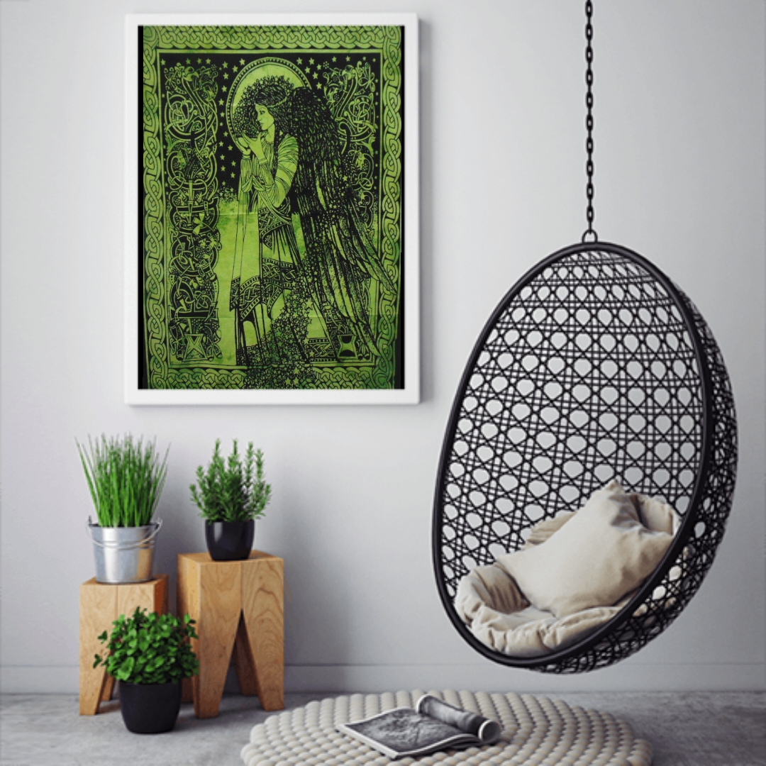 Heyrumbh Handicrafts Blessing Angle Wall Hanging Tie Dye Cotton Poster(Green, 40 X 30 Inches)