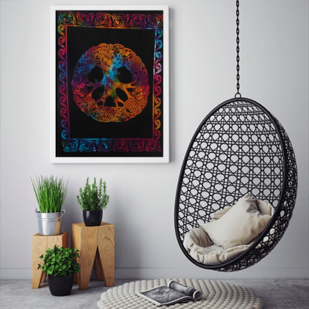 Heyrumbh Handicrafts Celtic Tree of Life Wall Hanging Tie Dye Cotton Poster(Multi Color, 40 X 30 Inches)