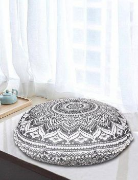 Heyrumbh Handicrafts Omber Mandala Cotton Floor Pouf Cushion Cover(Black and White, 32 Inches)