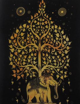 Heyrumbh Handicrafts Tree on Elephant Hippie Wall Hanging Tapestry(Black and Yellow, 54 X 84 Inches)