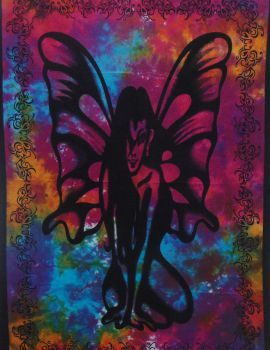 Heyrumbh Handicrafts Butterfly Angel Wall Hanging Tie Dye Cotton Poster (Multi Color, 40 X 30 Inches