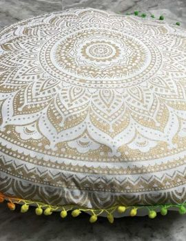 Heyrumbh Handicrafts Omber Mandala Cotton Floor Pouf Cushion Cover (White and Gold, 22 Inches