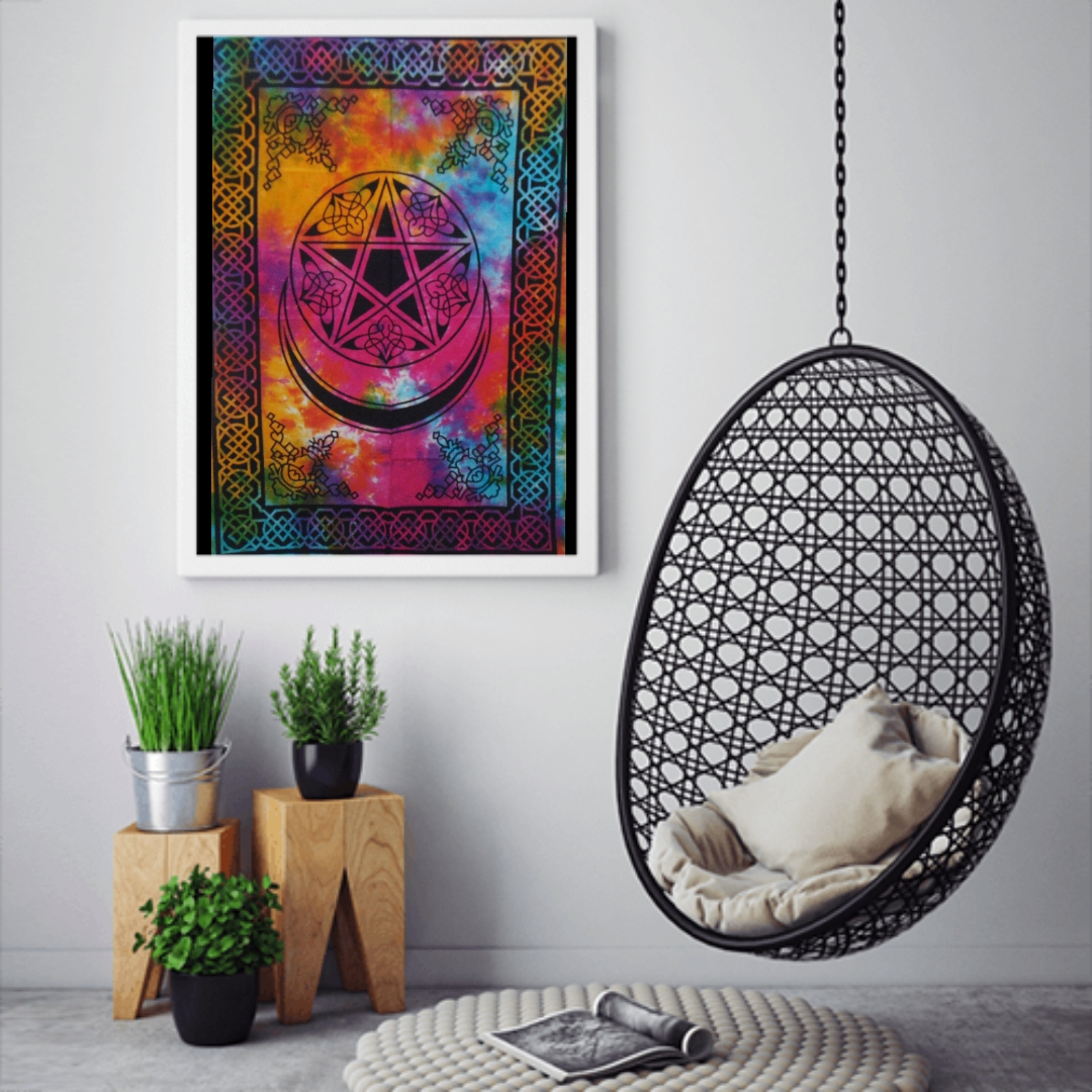 Heyrumbh Handicrafts Pentacle Moon and Star Wall Hanging Tie Dye Cotton Poster(Multi Color, 40 X 30 Inches)