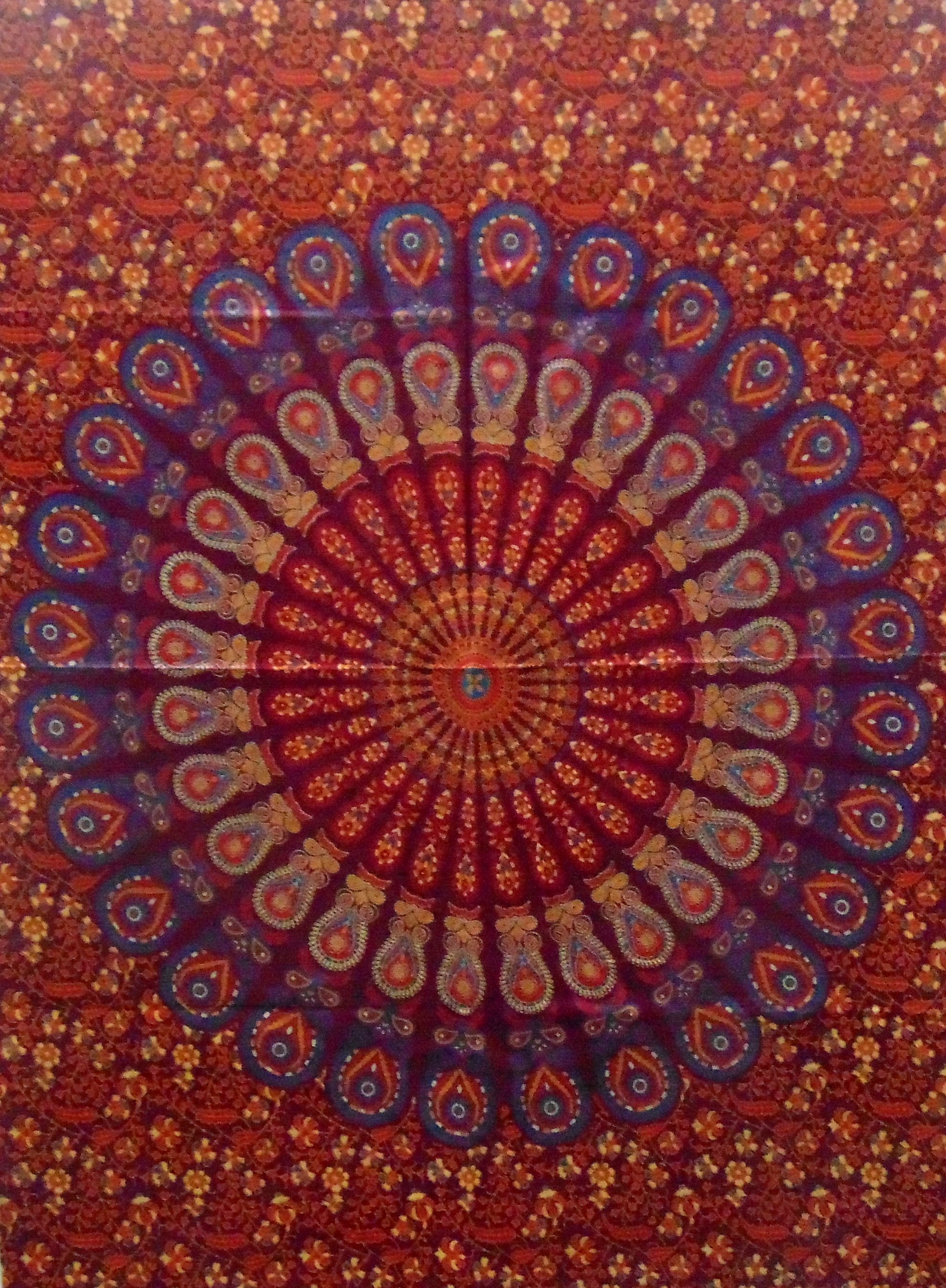 Heyrumbh Handicrafts Peacock Wing Mandala Tapestry Wall Hanging Cotton Poster(Red, 40 X 30 Inches)