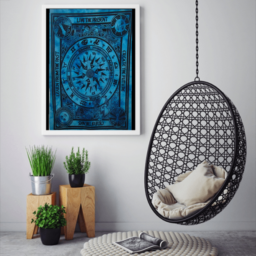 Heyrumbh Handicrafts Cycle of Ages (Wheels of Fortune) Wall Hanging Tie Dye Cotton Poster(Turquoise, 40 X 30 Inches)