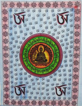 Heyrumbh Handicrafts OM Sign & Buddha Tapestry Wall Hanging Cotton Poster(Brush Paint Multi Color, 40 X 30 Inches)