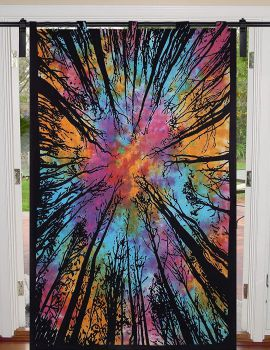 Heyrumbh Handicrafts Dark Forest Wall Hanging Cotton Tapestry Curtain(Multi Color, 54 X 82 Inches)