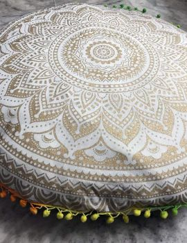 Heyrumbh Handicrafts Omber Mandala Cotton Floor Pouf Cushion Cover(White and Gold, 22 Inches)