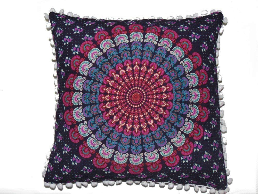 Heyrumbh Handicrafts Peacock Wing Mandala Cotton Square Cushion Cover (Lavender, 16 X 16 Inches