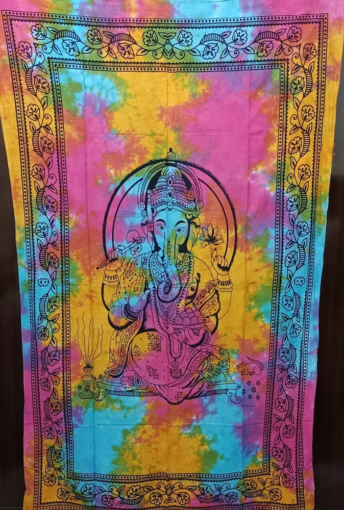 Heyrumbh Handicrafts Lord Ganesha Wall Hanging Cotton Tapestry (Multi Color, 54 X 84 Inches