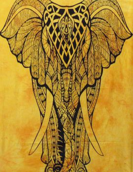 Heyrumbh Handicrafts Good Luck Front Face Elephant Cotton Wall Hanging Tapestry(Yellow, 54 X 84 Inches)