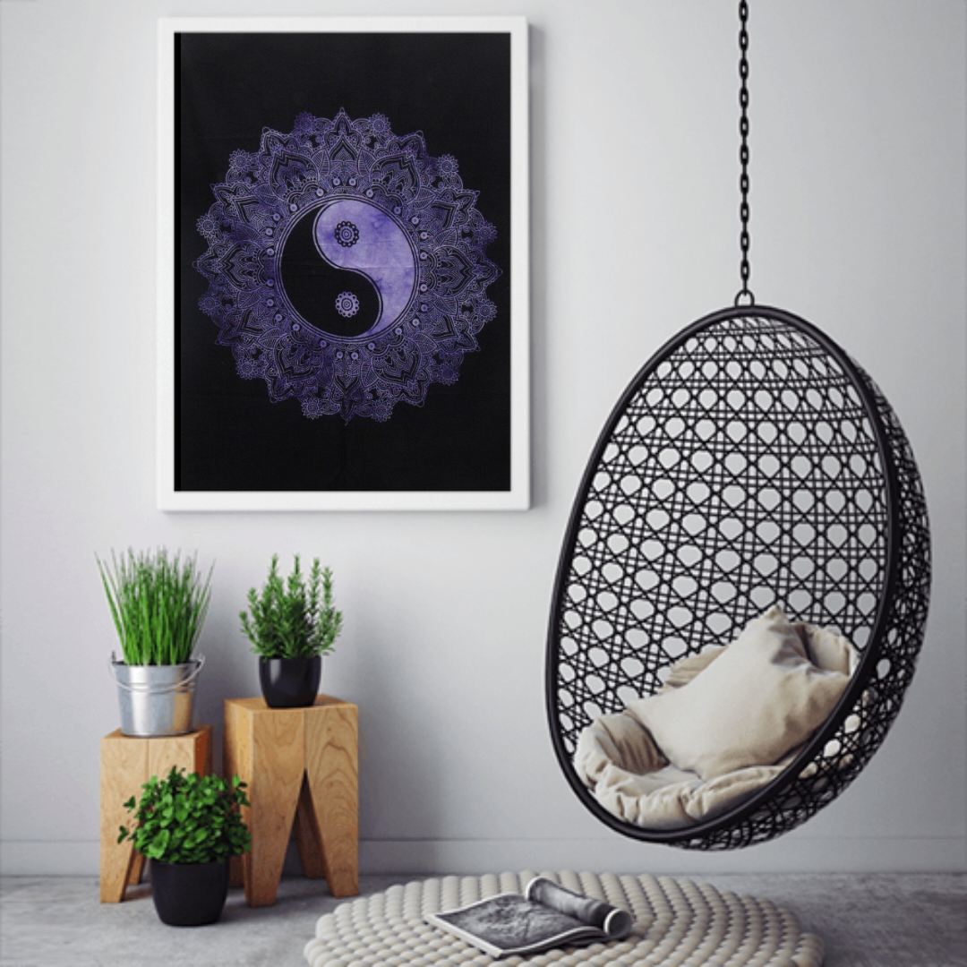 Heyrumbh Handicrafts Yin Yang Tapestry Wall Hanging Cotton Poster(Purple, 40 X 30 Inches)