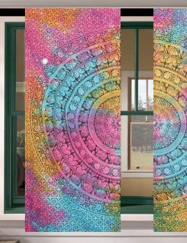Heyrumbh Handicrafts Flower Elephant Mandala Wall hanging Cotton Tapestry Curtain (Multi Color, 24 X 82 Inches