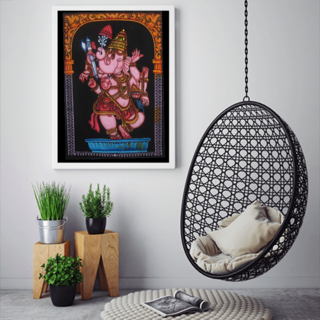 Heyrumbh Handicrafts Dancing Ganesha Wall Hanging Tie Dye Cotton Poster(Brush Paint Multi Color, 40 X 30 Inches)