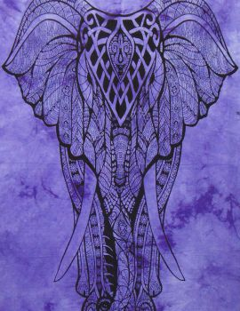 Heyrumbh Handicrafts Good Luck Front Face Elephant Cotton Wall Hanging Tapestry(Purple, 54 X 84 Inches)