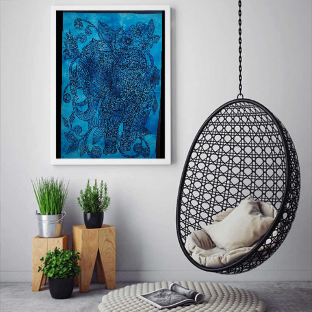 Heyrumbh Handicrafts Flower Front Face Elephant Wall Hanging Tie Dye Cotton Poster(Turquoise, 40 X 30 Inches)