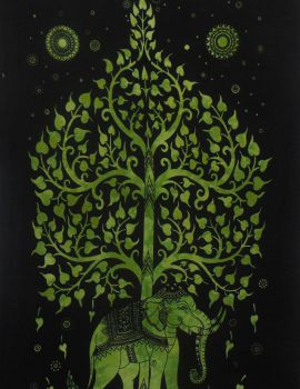 Heyrumbh Handicrafts Tree on Elephant Hippie Wall Hanging Tapestry (Black and Green, 54 X 84 Inches