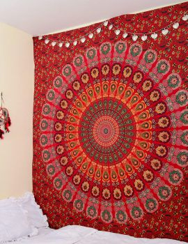 Heyrumbh Handicrafts Peacock Wing Mandala Wall Hanging Cotton Tapestry (Red, 84 X 90 Inches