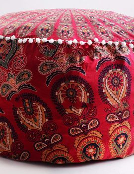 Heyrumbh Handicrafts Peacock Wing Mandala Floor Ottoman Cover Without Filler(Red, 24 X 14 inches)