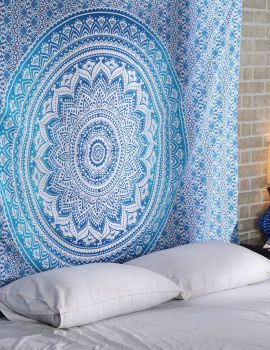 Heyrumbh Handicrafts Ombre Mandala Wall Hanging Cotton Tapestry(Sea Blue, 54 X 84 Inches)