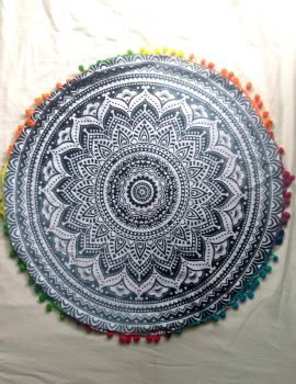 Heyrumbh Handicrafts Omber Mandala Cotton Floor Pouf Cushion Cover (Black and White, 22 Inches