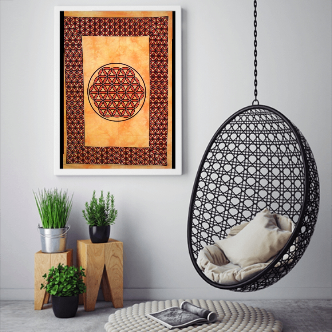 Heyrumbh Handicrafts Life of Flower Tapestry Wall Hanging Cotton Poster(Yellow, 40 X 30 Inches)