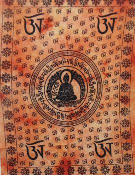 Heyrumbh Handicrafts OM Sign & Buddha Tapestry Wall Hanging Cotton Poster (Orange, 40 X 30 Inches